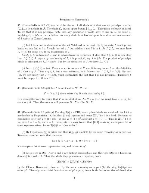 Solutions To Homework 7 35 Dummit Foote 8 2 6 A Let S