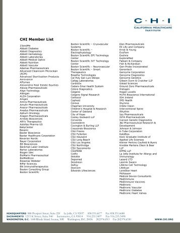 CHI Member List - California Healthcare Institute