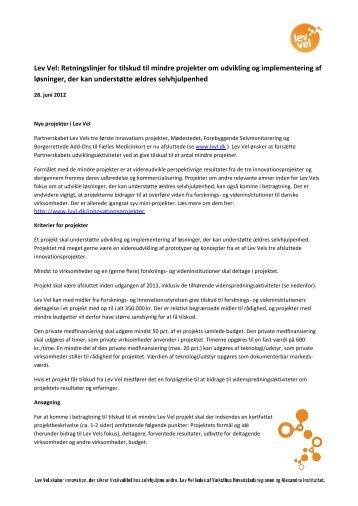 Lev Vel: Retningslinjer for tilskud til mindre projekter om udvikling og ...