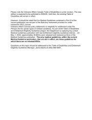 VAC Table of Disabilities - Veterans Affairs Canada