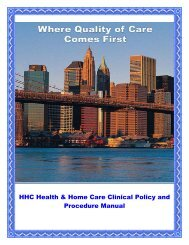 HHC Health & Home Care Clinical Policy And