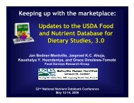 Updates to the USDA Food and Nutrient Database - National ...
