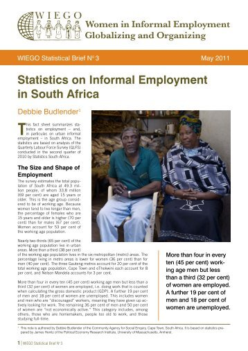 Statistics on Informal Employment in South Africa - WIEGO