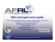 R&D of Energetic Ionic Liquids - Partners in Environmental ...