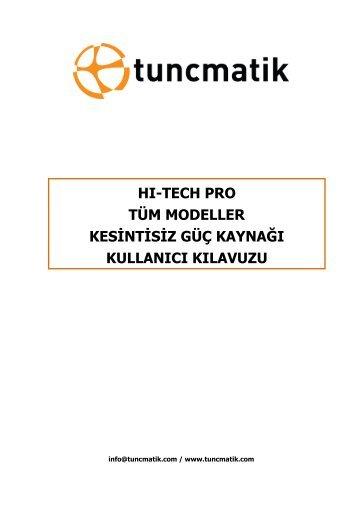 Hitech Pro Kullanıcı Kılavuzu Türkçe - Tuncmatik