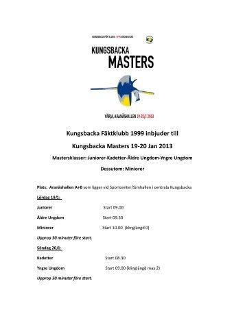 Inbjudan till Kungsbacka Masters VDH den 19-20 jan 2013