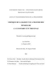 CRITIQUE DE LA RAISON VUE A TRAVERS DES ... - E-Corpus