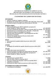 Calendário 2013 da Pós-Graduação
