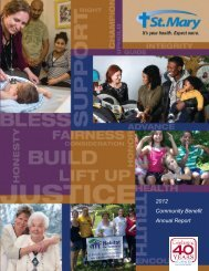 2012 Community Benefit Annual Report - St. Mary Medical Center