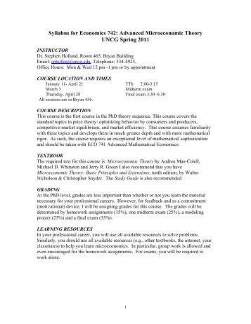 ECO 742-01: Advanced Microeconomic Theory