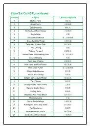 Chen Tai Chi 83 Form Names