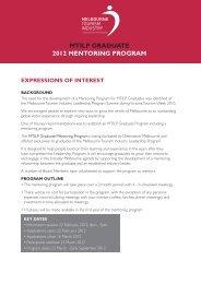 mtilp graduate 2012 mentoring program - Destination Melbourne