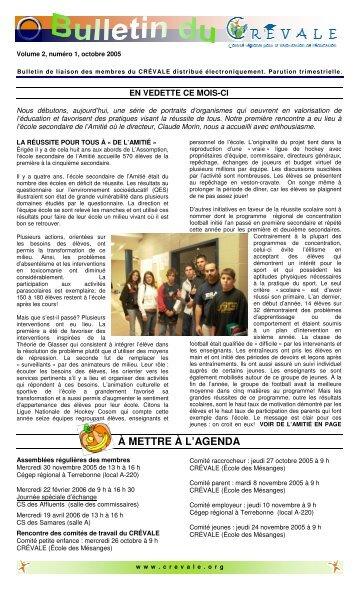 Bulletin de liaison - octobre 2005 - CREVALE