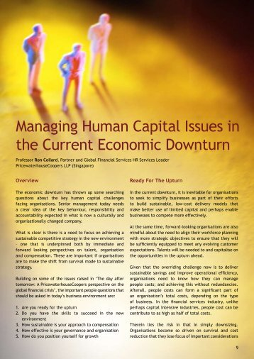 Managing Human Capital Issues in the Current Economic Downturn