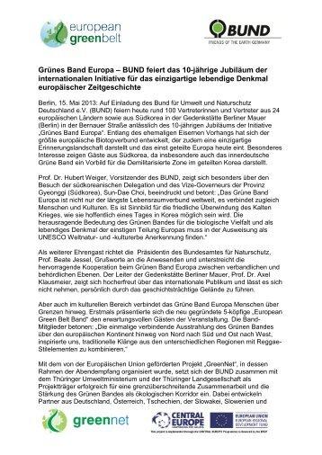 Grünes Band Europa – BUND feiert das 10 ... - GreenNet Project