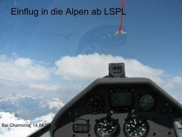 Einflug in die Alpen ab LSPL