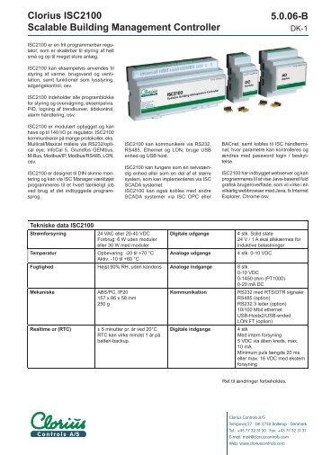 Clorius ISC2100 Scalable Building Management ... - Clorius Controls