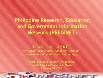 Philippine Research, Education and Government ... - TEIN3