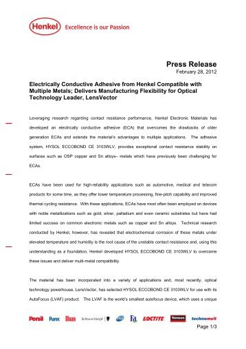 Press Release - Henkel Content Management System
