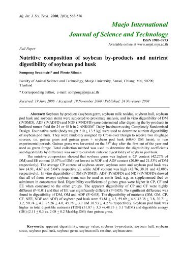 Nutritive composition of soybean by-products and nutrient ...