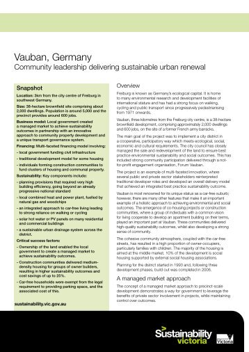 Case Study: Vauban, Germany - ResourceSmart
