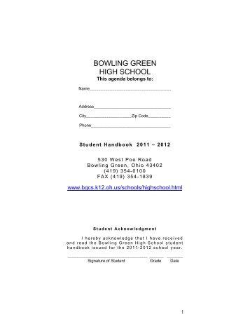 Student Handbook 2011 – 2012 - Bowling Green City Schools