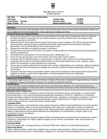 Job Title: Director of Historic Preservation Job Code ... - Heritage Ohio