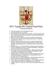 2011 Toyota AFL Grand Final Prize - Wrest Point Hotel Casino