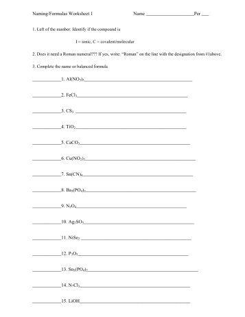 Naming Formulas Worksheet Worksheets Tataiza Free Printable