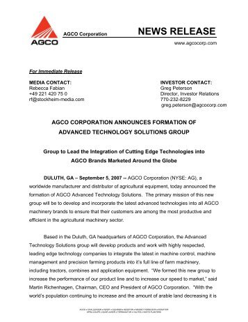 NEWS RELEASE - CMS Application Login - AGCO