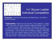 1v1 Soccer Ladder Individual Competition