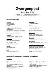 Zwergenpost Mai - Juni 2010 Thema - Kindergarten Waldzwerge eV