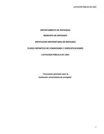 Pliegos definitivos de condiciones y especificaciones - Institución ...