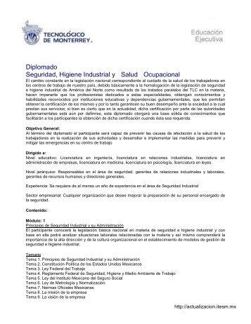 Diplomado Seguridad, Higiene Industrial y Salud Ocupacional