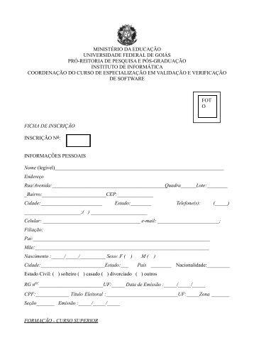 Ficha de Inscrição (.pdf) - Instituto de Informática - UFG