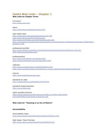 Useful Web Links – Chapter 1 - Jackson Memorial High School