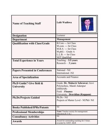 Mr. Lalit Wadhwa - Gimt.edu.in