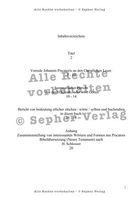 Johann Piscator Bibel – gesamtes_Vorwort_WZ - Sepher-Verlag ...