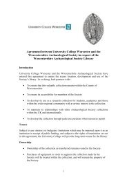 Agreement between University College Worcester and the ...
