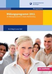 Bildungsprogramm 2011 - Handwerkskammer Reutlingen