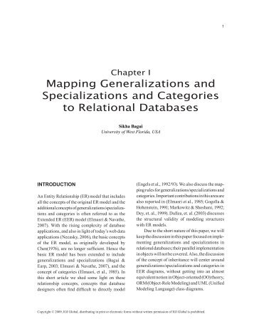 Mapping Generalizations and Specializations and Categories to ...