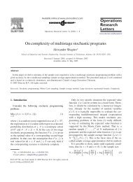 On complexity of multistage stochastic programs - H. Milton Stewart ...