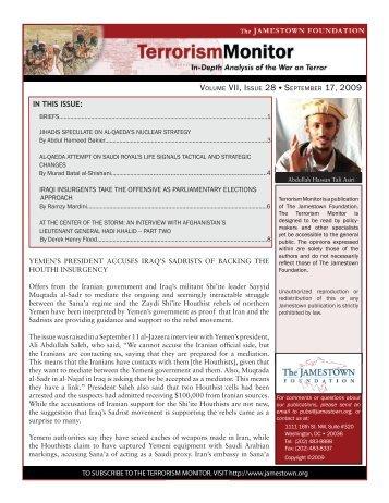 Volume VII, Issue 28 september 17, 2009 - The Jamestown ...