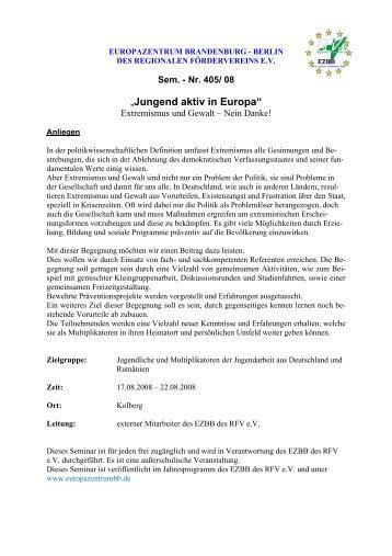 """""""Jungend aktiv in Europa"""" - Europazentrum Brandenburg-Berlin"""