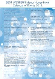 BEST WESTERN Manor House Hotel Calendar of Events 2013
