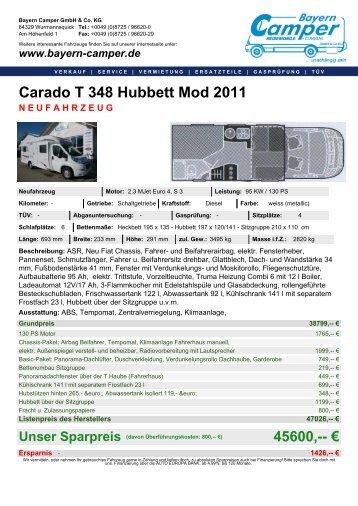 Carado T 348 Hubbett Mod 2011 NEUFAHRZEUG - Bayern Camper