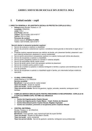 I. Unitati sociale – copii - DGASPC Dolj