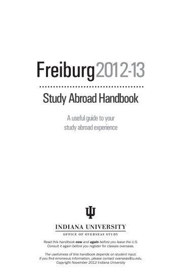 Freiburg handbook, Semester/Academic Year - Overseas Study ...