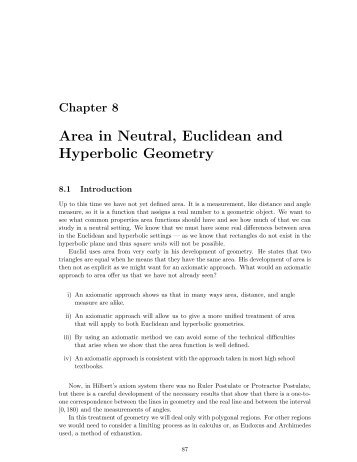 Area in Neutral, Euclidean and Hyperbolic Geometry