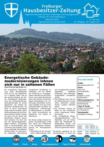 Freiburger Hausbesitzer-Zeitung 07-08/2012 - Bender Werbe-GmbH